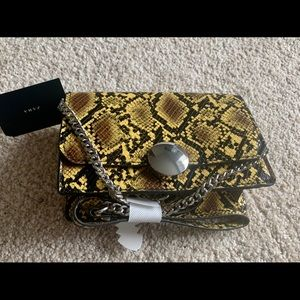 Zara animal print yellow snake small chain bag nwt